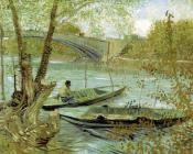 Vincent Van Gogh : Two boats near a bridge across the seine